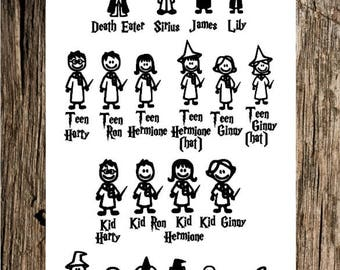 Harry Potter Stick Figure Family decal / Wizard Family decal / Stick Figure decal