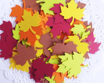 Autumn Leaves Confetti, Maple Leaves, Thanksgiving Decor, Fall in Love Bridal Shower, Fall Wedding, Paper Fall Leaves