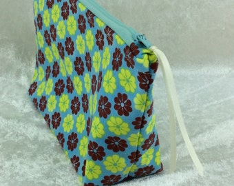 Flowers Zip Case Bag Pouch fabric Handmade in England