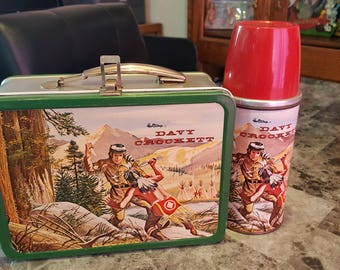 1955 Davy Crockett Holtemp Steel Lunchbox w/Steel Bottle Near Mint