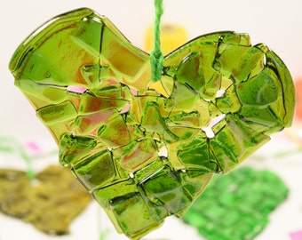 Recycled Glass Art Heart Decoration - recycled bottle glass heart - upcycled glass bottle decoration - birthday gift - reclaimed glass