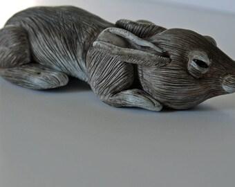 Sleeping Cottontail Rabbit Sculpture