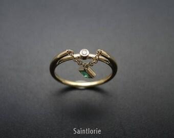 0.15 Carat Emerald Engagement Ring
