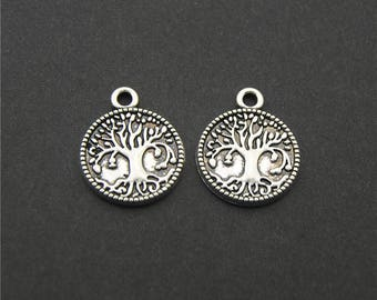 30pcs Antique Silver Carve Tree Family Tree Charms Pendant A2202