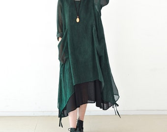 Asymmetrical tunic dress spring dress chiffon dress with two pieces loose lightweight dress maxi dress maternity clothing plus size dress