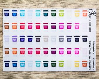 Multi Colour Coffee Cup Planner Stickers for Erin Condren and Recollection Lifeplanner