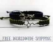 Serotonin couple bracelet, couples bracelet, dopamine jewelry, serotonin molecule, chemistry bracelet, biology bracelet, molecule jewelry