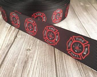 """Firefighter ribbon - Fire dept ribbon - Firefighter emblem - Fire fighter crafts - 1"""" Grosgrain ribbon - Firemen hair bow DIY - Craft ideas"""