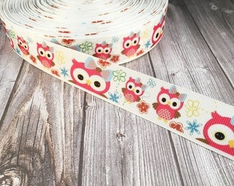 "Owl ribbon - 1"" grosgrain ribbon - Pretty owl - Owls with bows - Flowers and butterflies - Hair bow ribbon - Craft ribbon - Craft supplies"
