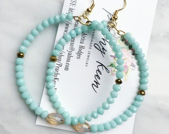 Mint & Champagne Beaded Hoops