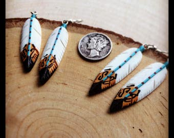 Feather Earrings - Hand Carved & Painted - Bone