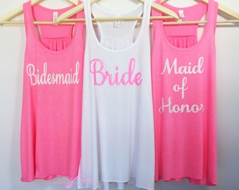 Pink Bachelorette Party Shirts,Bride, Bridesmaid, Maid of Honor, Front Text Only Completely customized, RacerbackNeck Listing