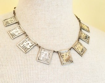 "Vintage 900 silver made in Ecuador necklace featuring Mayan mythology god Camazotz the ""death bat""."