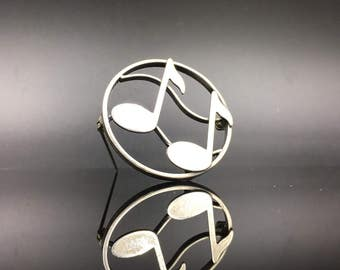 Sterling music notes brooch by Beau,  great gift for a musician!
