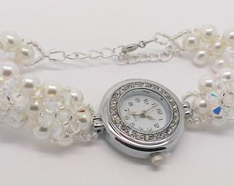 Bridal Pearl Watch Bracelet, pearl watch, bridal watch, crystal watch bracelet, bracelet watch, beaded watch, Ivory pearl bracelet watch
