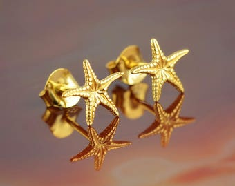 starfish golden stud earrings, starfish earrings, everyday earrings, starfish studs, starfish, greek jewelry, golden studs, goddess jewelry