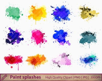 Colorful paint splatters clipart, paint stains clip art, splashes, scrapbooking, instant digital download, png jpg 300dpi