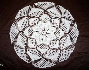 Whilte crochet doily  with Effect 3D