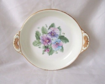 Minton China Pansy Dish m.1961 Hand-Painted and Signed E Cronshaw