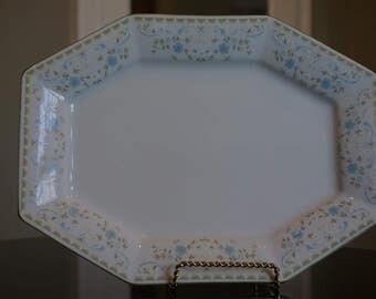 Vintage Octagon Originals  Interlude Platter/ Tiny Blue floral Platter/ made in Japan 1980s