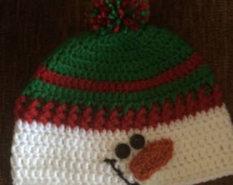 Snowman Hat,CUSTOM SIZES,Toodler Snowman Hat,Snowman Hat,Green and Red Crochet Hat,Beanie,Character Hat,Child Hat, Men's and Women Hat