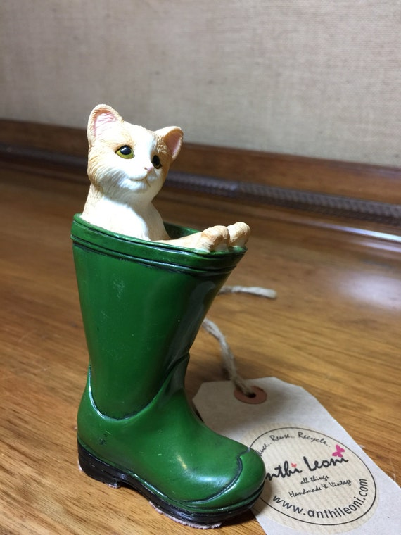 Vintage Leonardo Collectable Cat in Green Wellington Boot Porcelain - Cottage China Collectible - Gift For Cat Lovers - Feline Art