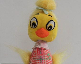 Amazing Kistchy Rare Vintage 1960s Japan Stuffed Mod Duck with Beehive Hairdo-Chick-Easter-