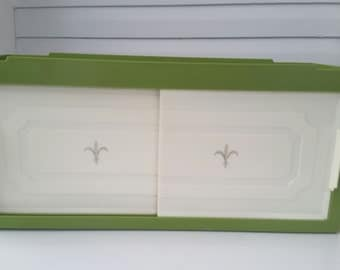 vintage mid century bathroom or kitchen plastic shelf wall cabinet with towel bars and fleur