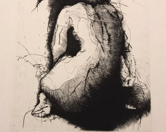 "Pozornost or ""Attention"", 1992  Dry Point Engraving signed Tomáš Hřivnáč 9 of 20"