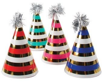 MINI Gold foil stripe party hats.  Set of 8. Red, blue, teal, and pink striped paper hats. Bright birthday party hats.  Gold paper hat.