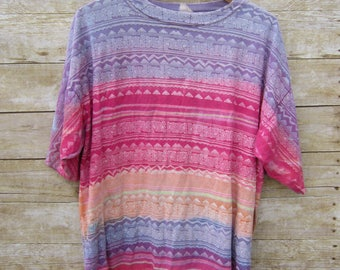 Bright Ombre Aztec Tee- Hipster - Aztec - Southwestern - Size Large/Extra Large Surfer Skate