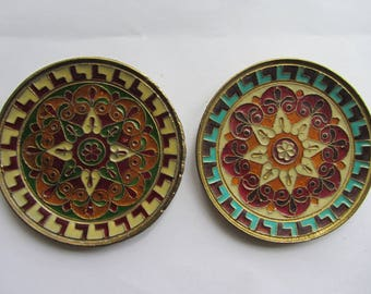 Vintage set of two, a pair, of small circular enamelled brass wall plaques, Collectable finely detailed 1970's wall hanging