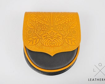 Small crossbody purse, embossed lether, mini purse, Yellow and black bag, leather bag, tooled leather, small crossbody bag, shoulder bag