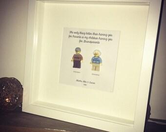 Lego minifigures personalised gift frame
