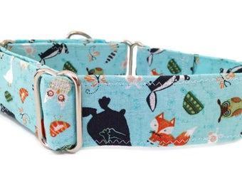 1.5 Inch Martingale Collar, Martingale dog collar, greyhound collar, great dane collar, Forest animals martingale, woodland martingale