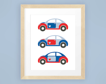 Cute Blue and Red VW Beetle Cars printable art for childrens room 8x10 INSTANT DOWNLOAD