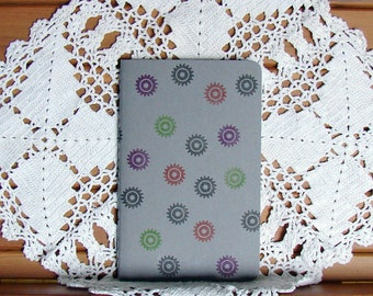Moleskine Cahier Journal-Pebble Grey with Hand-Stamped Steampunk Wheels