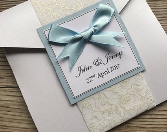 Wedding pocketfold invitations, sample, lace effect Wrap band, Pocketfold Wedding Invitation, Holly style wedding stationery