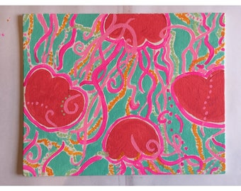 Lilly Pulitzer inspired Jellies Be Jammin' jellyfish canvas