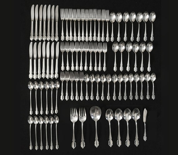 Vintage 87pc. International Deluxe AMERICAN ROSE 1967 Stainless Steel Flatware - Glossy - Service for 12 with Extras
