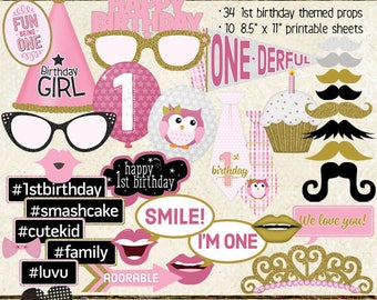 Photo Booth Props, HAPPY 1ST BIRTHDAY, girl, pink, gold, printable sheets, instant download, diy, 1st birthday party
