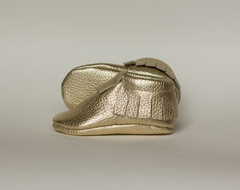 Golden baby moccasinsNewborn, infant, toddler soft shoes