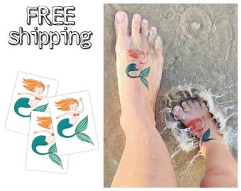 "Set of 3 tattoos ""Mermaid"". Kids marine nautical temporary tattoos from fairy tale. TT058"