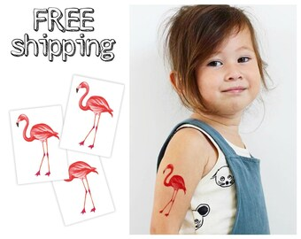 """Set of 3 tatts """"Pink flamingo"""". Watercolor hand painted design. Tropic summer themed kids temporary tattoos. TT117"""