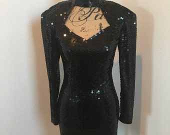 Awesome 80's Mini Black Sequin Dress With Extreme Shoulder Pads Size 6 fits Small