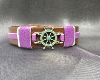 Nautical Wheel accented with Purple on Brown Leather