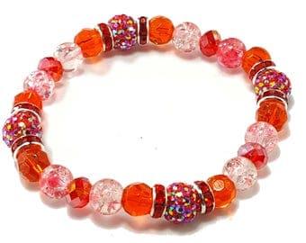 Wedding Bridesmaid Prom Fuschia Pink Shambala Orange crystal stretch bracelet