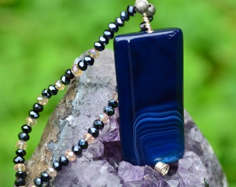 Blue agate pendant necklace with glass bead chain