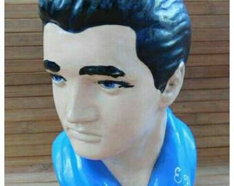 Vintage Hand Painted Elvis Ceramic  Statue