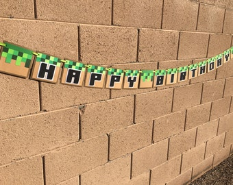 Minecraft banner, minecraft happy birthday banner, minecraft birthday banner